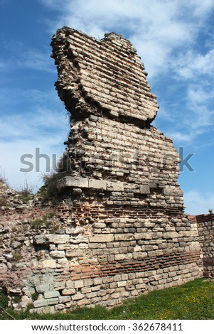 Fragment of old byzantine city wall in Istanbul, Turkey. - stock photo