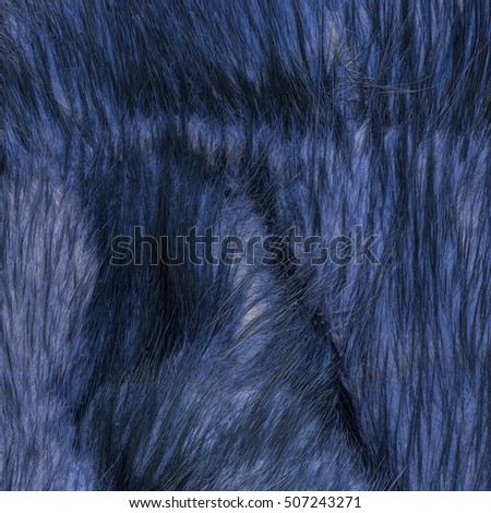 fragment of old fur coat as natural fox painted blue fur texture
