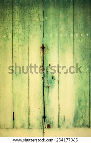 Fragment of old green vanished wooden doors, green wood pattern or background