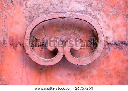 Fragment of old industrial rusty door - stock photo
