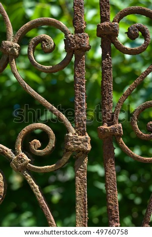 fragment of old iron fence