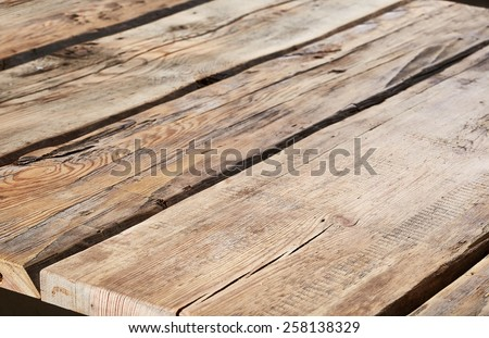 fragment of old wood background, selective focus - stock photo