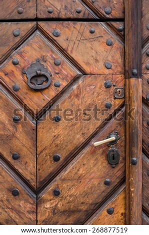 Fragment of old wooden door with handle, knocker and lock
