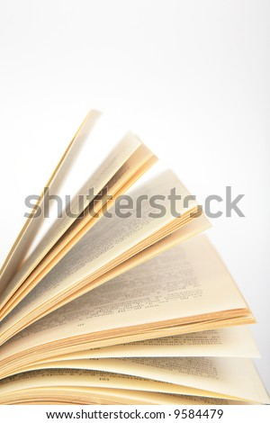 fragment of opening book - stock photo