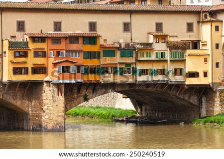 Fragment of Ponte Vecchio  in Florence,  Italy. - stock photo
