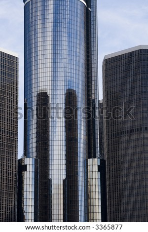 Fragment of Renaissance Center in Detroit, Michigan - stock photo
