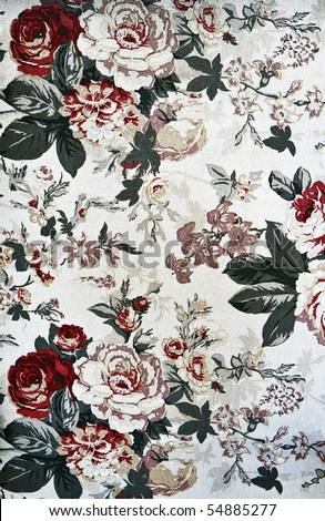 Fragment of retro tapestry fabric pattern with colorful  floral ornament on white background. - stock photo