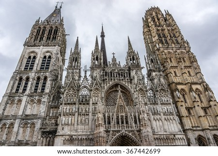 Fragment of Rouen Cathedral (Cathedrale de Notre-Dame, 1202 - 1880). Rouen in northern France on River Seine - capital of Haute-Normandie (Upper Normandy) region and historic capital city of Normandy.