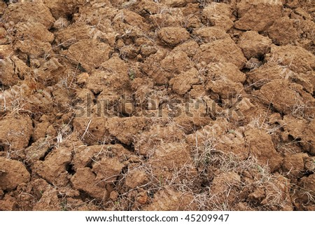 Fragment of rustic arable land surface - stock photo