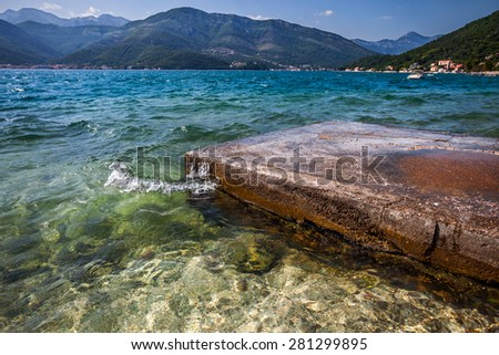 fragment of  shore of  Tivat bay - stock photo