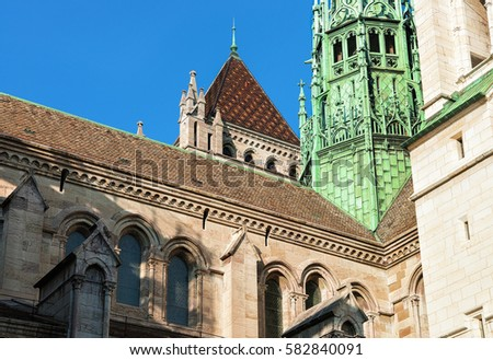 Fragment of St Pierre Cathedral in the old town of Geneva, Switzerland
