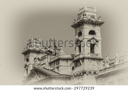 Fragment of St. Stephen's Basilica (1905) - Roman Catholic basilica in Budapest, Hungary. It is named in honor of Stephen - first King of Hungary; - most important church in Hungary. Antique vintage. - stock photo