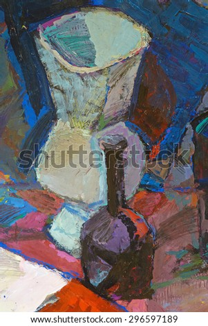 Fragment of still life painted by gouache. - stock photo