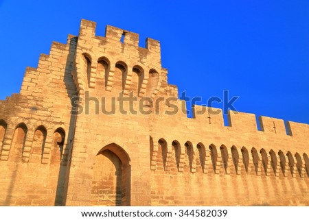 Fragment of sunny walls protecting the old town of Avignon, Provence, France - stock photo