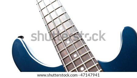 fragment of the blue electric rock guitar isolated on white background