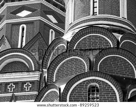 Fragment of the Cathedral of Saint Basil the Blessed at the Red Square of Russia in Moscow - stock photo