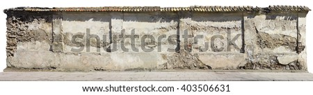 Fragment of the destroyed centenary monastery wall. Isolated panoramic collage from several photos. Sunny spring morning.  - stock photo