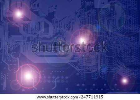 Fragment of the electronic board close-up and glare.abstract background. toned  - stock photo