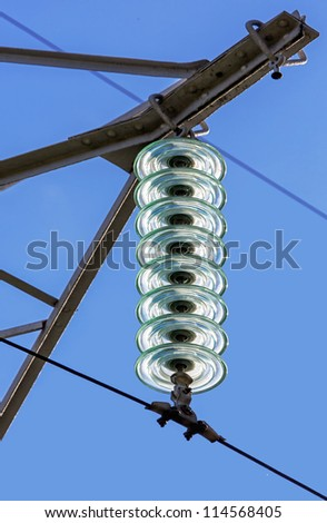 Fragment of the high power lines, Russia - stock photo