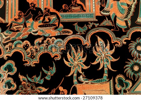 fragment of the Indian traditional decorative pattern, national background