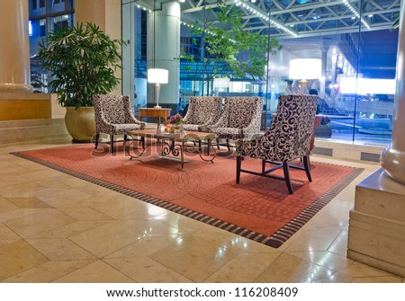 Fragment of the lobby of the luxury five stars hotel. Interior design. Vancouver, Canada. - stock photo