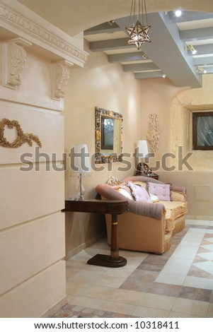 fragment of the luxurious interior of sitting room - stock photo