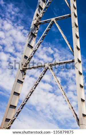 Fragment of the mine shaft at the blue sky in Katowice, Silesia region, Poland - stock photo