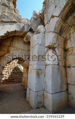Fragment of the Nimrod Fortress,  a medieval fortress in the northern Israel. - stock photo