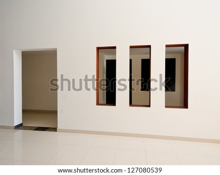 Fragment of the office, building hall, lobby,  doors and windows. Interior design.
