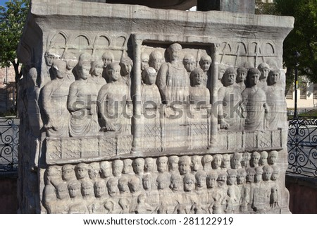 Fragment of the pedestal of the obelisk of Theodosius (Egyptian Obelisk). The scene at the circus: the bottom row of dancers, Avleta and organists (east side). Istanbul. Turkey.