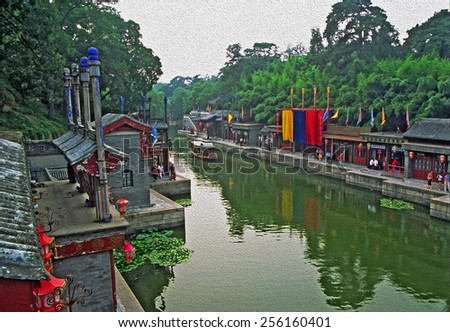 fragment of the summer palace complex, Beijing, China with historic buildings, chinese bridges and canals, stylized and filtered to look like an oil painting