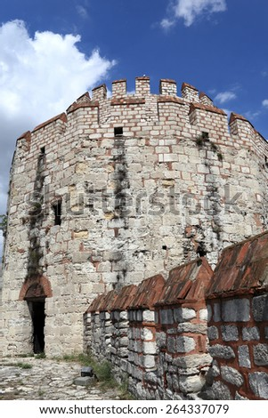 Fragment of tower of Yedikule Fortress in Istanbul - stock photo