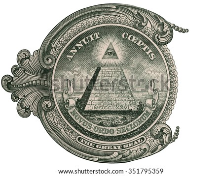 Fragment of us one dollar bill with Great seal, 1 usd banknote macro, united states money closeup - stock photo