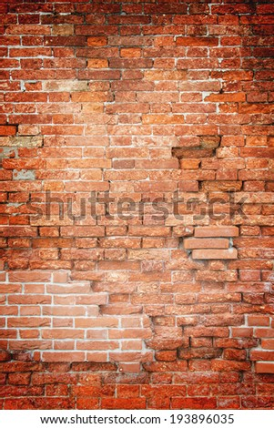 Fragment of Venetian old brick wall as background - stock photo