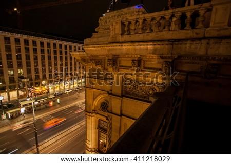 Fragment of Vienna's State Opera at night - stock photo
