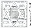 Fragment of vintage Kabbalistic Prayer book useful as background - stock photo