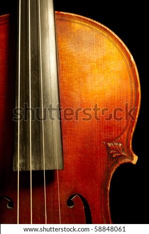 Fragment of violin - stock photo