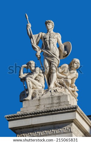 Fragment of Vittorio Emanuele monument II in Rome - stock photo