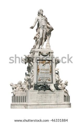 Fragment of Wolfgang Amadeus Mozart memorial in Burggarten garden, Vienna, Austria. Monument was created by sculptor Viktor Tilgner in 1896 and now is in public domain. - stock photo