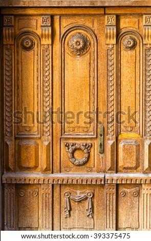 fragment of wooden door in old Riga , Latvia - stock photo