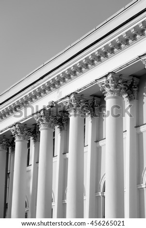 Fragment of Yelagin Palace in St. Petersburg, Russia. Black and white.