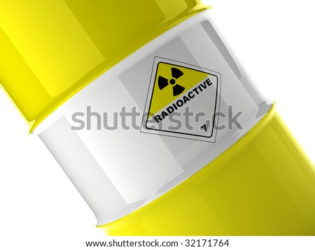 "fragment of yellow barrel with white line and mark ""radioactive"" on white background"