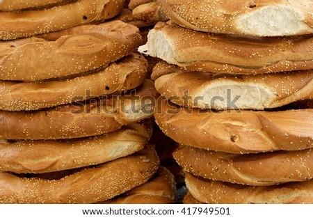 Fragment photo offers and tasty maltese bread, fresh bread. Fresh tasty healthy food, bread in street market  - stock photo