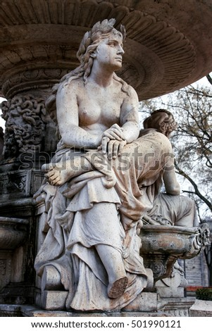 Fragment statue Danubius Water Fountain, Budapest, Hungary. This neo-renaissance fountain built in 1880 originally stood elsewhere but 1978 was moved to Erzsebet Square