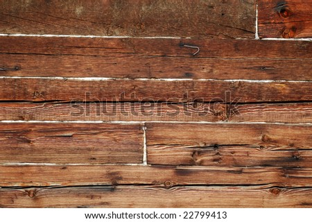 fragment wall from log - stock photo
