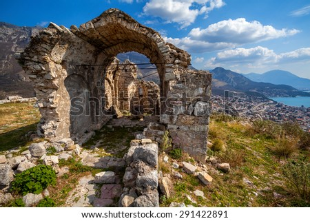 fragments of ancient fortresses in Montenegro - stock photo
