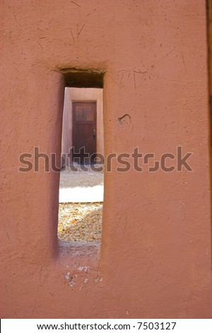 Fragments of architecture, houses, churches, cemetery at the International Historic Heritage Site in Taos Indian village and a nearby town - stock photo
