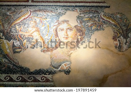 Fragments of mosaic floor in Tzippori National Park in Israel - stock photo