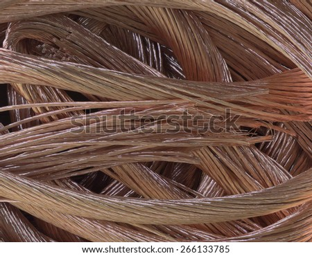 fragments of prepared copper electric cable