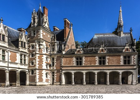 Fragments of Royal Chateau de Blois (Residence of 7 kings and 10 queens of France, XIII - XVII century), located in Loir-et-Cher departement in Loire Valley, in France, in city of Blois.  - stock photo